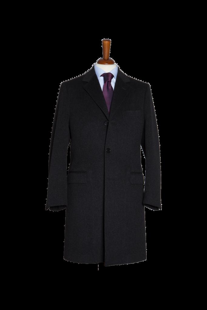 Un cappotto su misura nero realizzato in cashmere alla sartoria di milano acquadimare