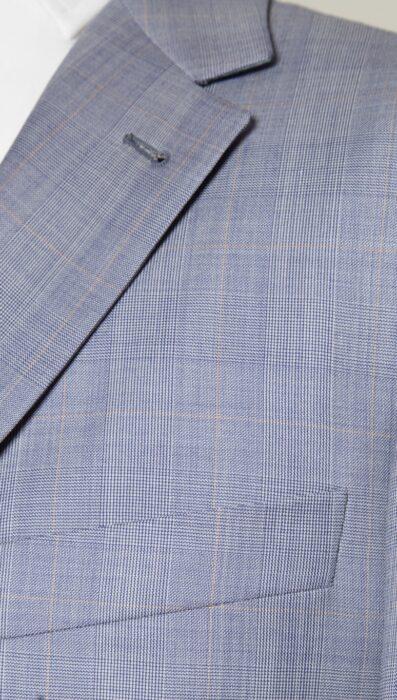 Giacca a 3 bottoni stirata a 2, grigia, con lana del lanificio Campore