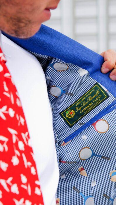 giacca su misura azzurra con fodera tennis