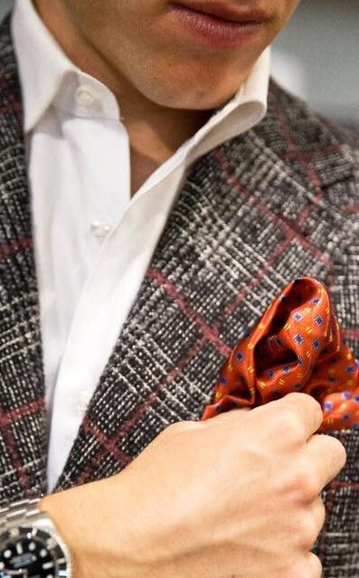 giacca su misura in lana a quadri